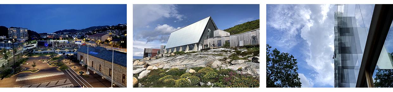 Fra venstre: Nye Ålgård sentrum, Bygdebox på Stokkøya i Trøndelag og Mat- og merkevarehuset på Grünerløkka.