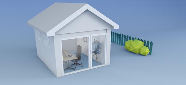 Anneks som kan brukes til kontor eller atelier