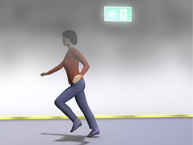 § 11-12 Figur 3: Lavt monterte ledelinjer er egnet i rom med røyk.