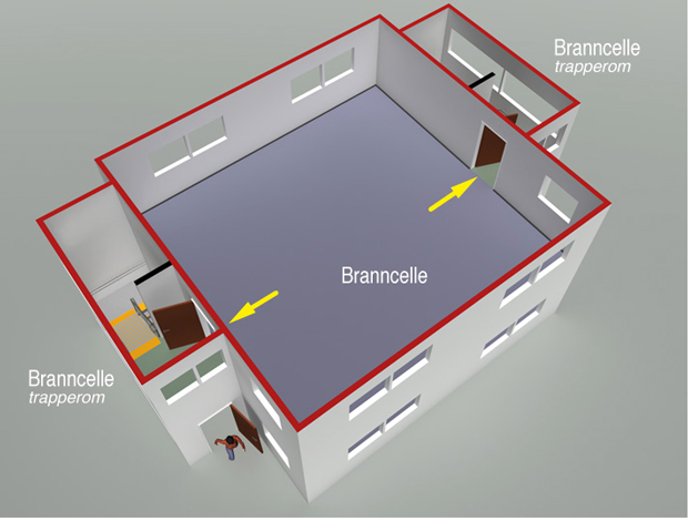 § 11-13 Figur 2: Branncelle med utgang til to trapperom utført som rømningsvei (to uavhengige rømningsveier).
