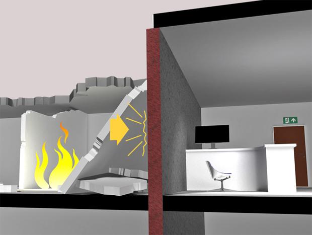 § 11-6 Figur 2: Brannvegg må være stabil i forutsatt brannmotstandstid selv om byggverket faller sammen på en side
