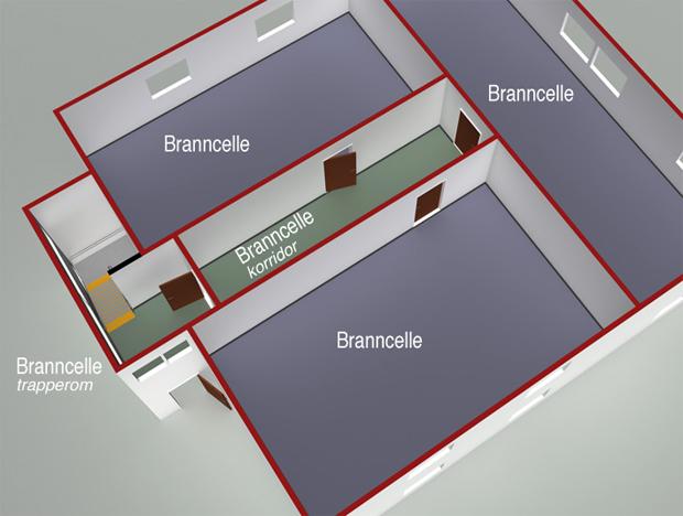 § 11-8 Figur 1: Byggverk må deles opp i hensiktsmessige brannceller.