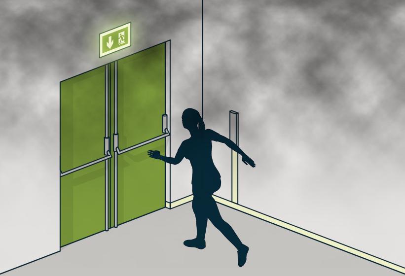 § 11-12 Figur 1: Markeringsskilt plasseres over alle utganger til og i rømningsvei.
