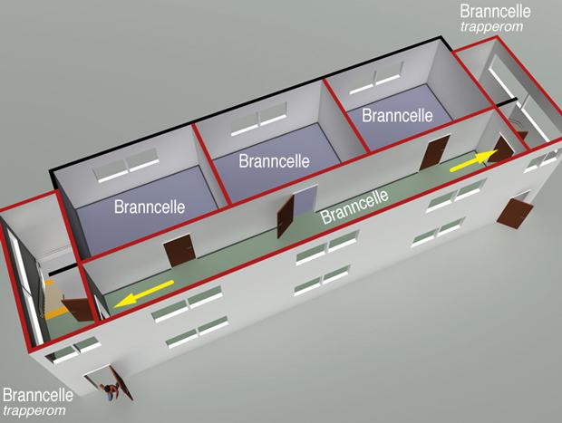 § 11-13 Figur 3: Branncelle med utgang til rømningsvei (korridor) med to alternative rømningsretninger som fører til to trapperom utført som rømningsvei.