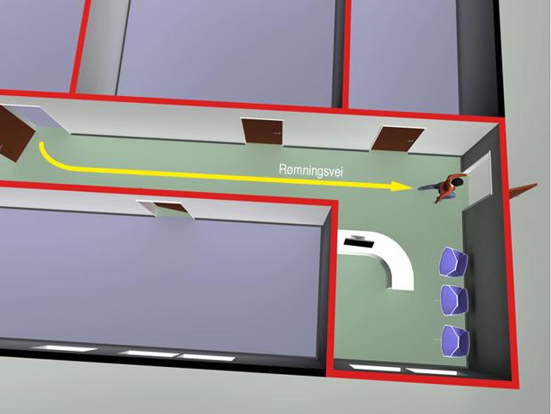 § 11-14 Figur 1: Små vaktrom/resepsjoner kan inngå som del av rømningsvei.