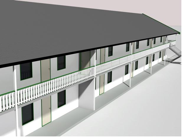 §11-14 Figur 4: Svalgang som rømningsvei. Svalganger som er lengre enn 30 meter, må oppdeles med branncellebegrensende bygningsdeler med innbyrdes avstand på maksimum 30 meter, for å begrense den horisontale brannspredningen.