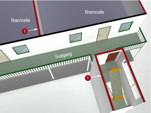 § 11-14 Figur 5a: Brannbeskyttelse av rømningstrapp fra svalgang. 1 markerer brancellebegrensende vegg.