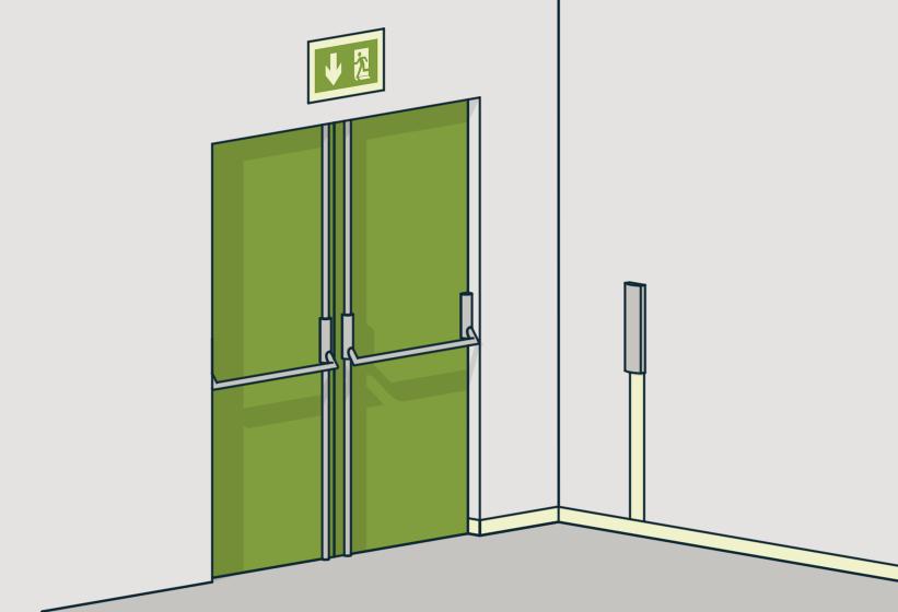 § 11-14 Figur 6: Dør i rømningsvei i byggverk i risikoklasse 5 og 6 må kunne åpnes manuelt med ett grep og uten bruk av nøkkel.