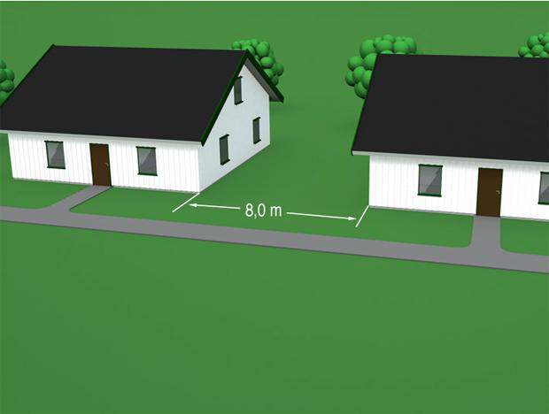 § 11-6 Figur 1: Skille mellom lave byggverk i ulike bruksenheter. Avstand minimum 8,0 m eller branncellebegrensende bygningsdel(er).