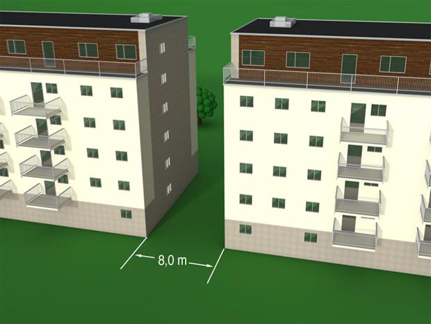 § 11-6 Figur 2: Skille mellom høye byggverk.Avstand minimum 8,0 m eller brannvegg(er).