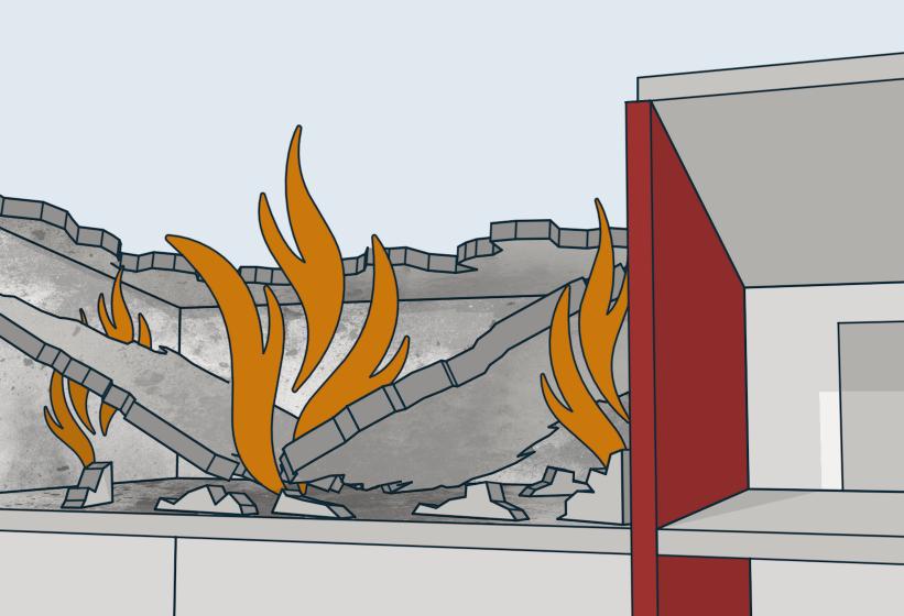 § 11-6 Figur 4: Brannveggen må være stabil i den forutsatte brannmoststandstiden selv om byggverket faller sammen på en side. Alternativ med tak som har brannmotstand minst EI 60 A2-s1, d0 [A 60]