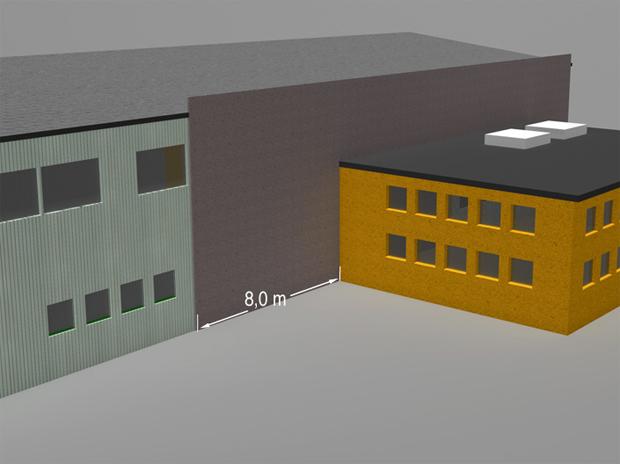 § 11-7 Figur 1a: Utforming for å hindre brannsmitte fra vegg til vegg i innvendige hjørner. Alternativ 1: Seksjoneringsvegg forlenges minimum 8,0 meter forbi innvendig hjørne.