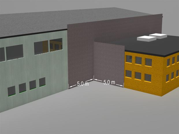§ 11-7 Figur 1b: Utforming for å hindre brannsmitte fra vegg til vegg i innvendige hjørner. Alternativ 2: Seksjoneringsveggen forlenges minimum 5,0 meter forbi innvendig hjørne i begge fasadene.