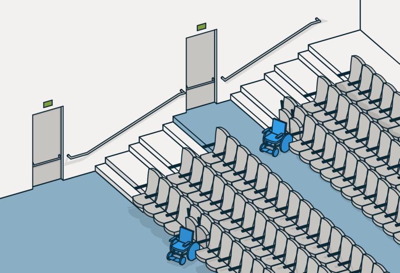 § 12-7 Figur 1: Eksempel på utforming av auditorium som gjør likestilt bruk mulig.