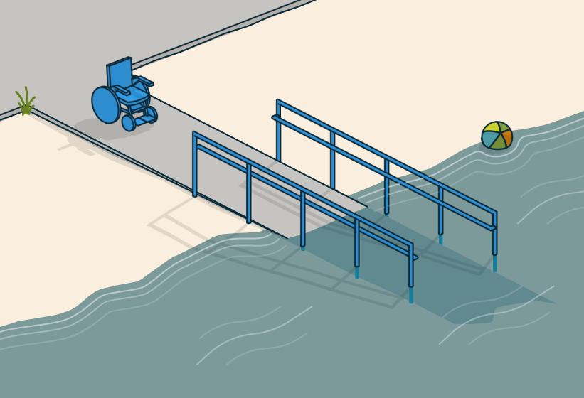 § 8-3 Figur 2: Badeplass som er utformet slik at det er lett å komme seg ned i og opp av vannet