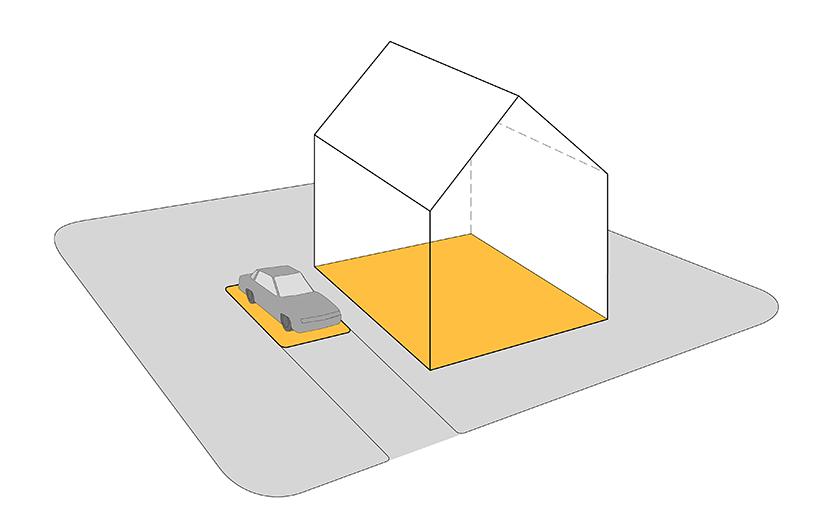 § 5-2 figur 1: Bebygd areal for en tomt.