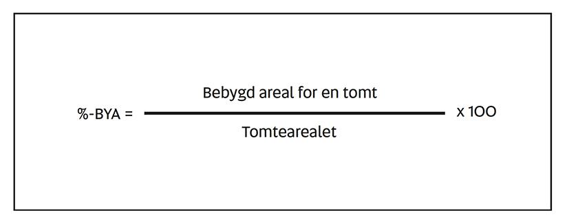 § 5-3 figur 1: Formelen for %-BYA (%-BYA = Bebygd areal for en tomt delt på tomtearealet ganger 100).