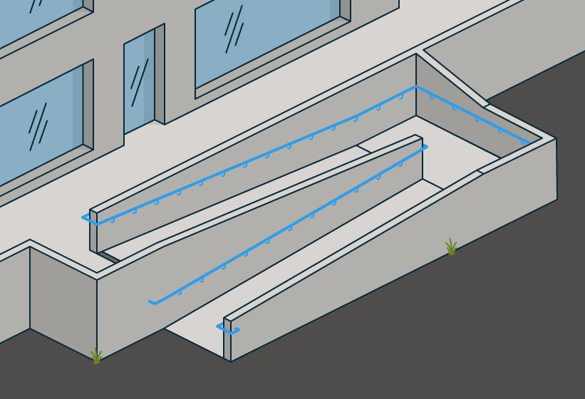 § 12-16 Figur 2: Eksempel på rampe med én håndløper (tredje ledd) og luminanskontrast både ved toppen og bunnen av det skrå planet (fjerde ledd).