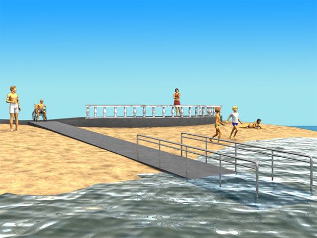 § 8-4 Figur 5: Badeplass som er utformet slik at det er lett å komme seg ned i og opp av vannet.