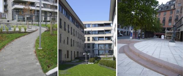 Fig. 8, 9, 10 Er atkomst uten hindringer, har uteoppholdsareal gode lydforhold, er trapp sikker i bruk? Foto: Siri Helle, Tone Rønnevig