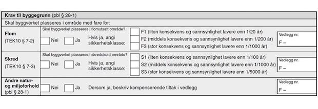 Figur 11.4a. Utsnitt frå byggjesaksblankett 5175 Opplysningar om ytre rammer for tiltaket (vedlegg til byggjesaksblankett 5174)
