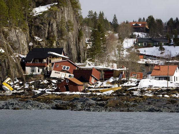Bilde 6.2 Kvikkleireskred i Namsos i 2009. Foto: NTB Scanpix